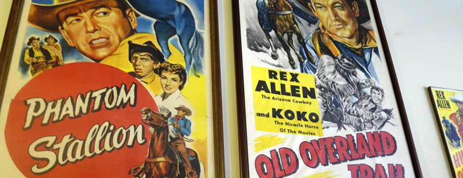 Movie posters line the walls at Rex Allen Museum in Willcox.