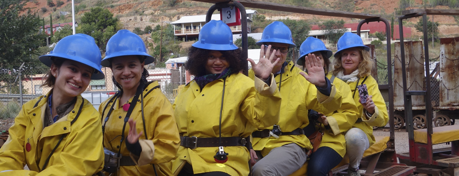 Visitors in yellow jackets and miners