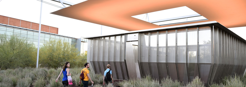 Visitors walk into Air Apparent, a public art space at ASU Tempe Campus