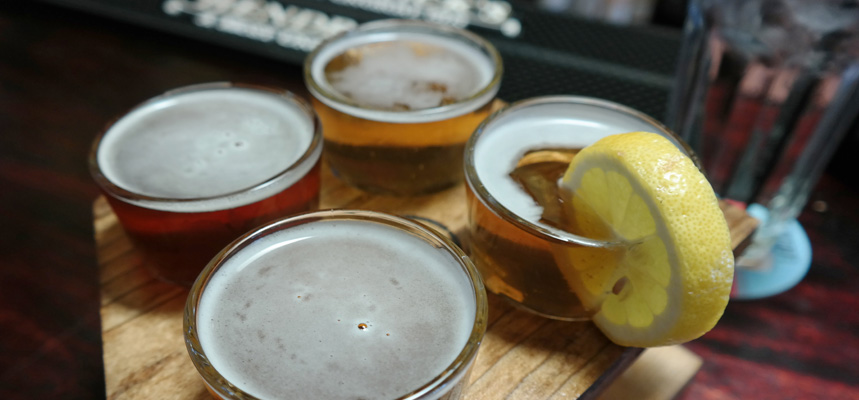 A tasting flight of four sour beers at Craft 64 in Scottsdale