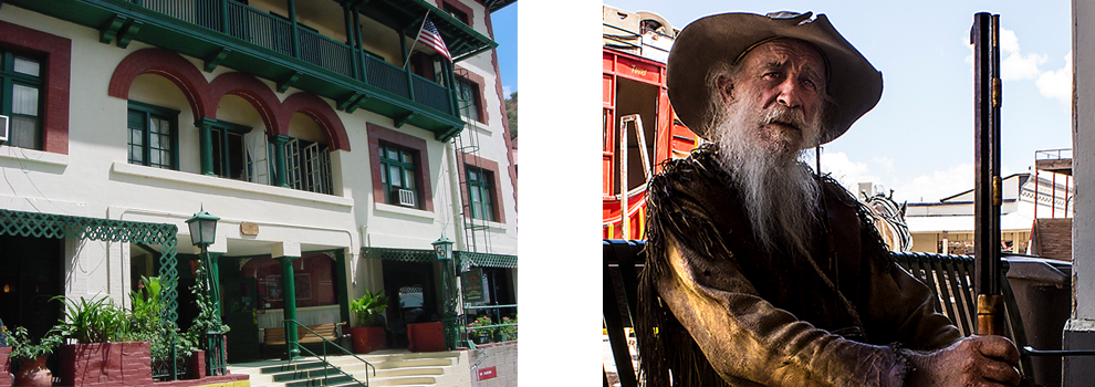 Two images: On the left, the exterior of the Copper Queen Hotel in Bisbee. On the right, a re-enactor in Tombstone.