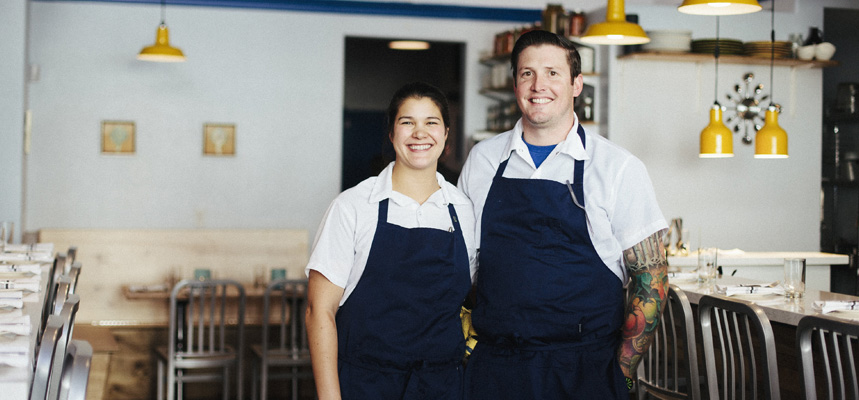 Dara and Joe Rodger in their restaurant, Shift.