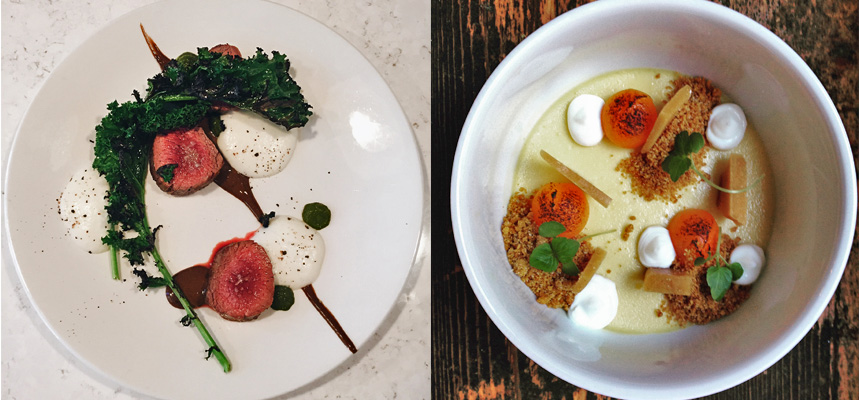 Two entrees from Shift, side-by-side: the Terrace Major with Charred Kale, and the Butternut Squash Cheesecake