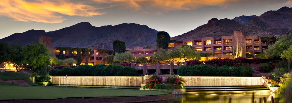 A view from the front of Loews Ventana Canyon Resort at sunset.