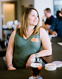Leah Huss of Huss Brewing at the bar