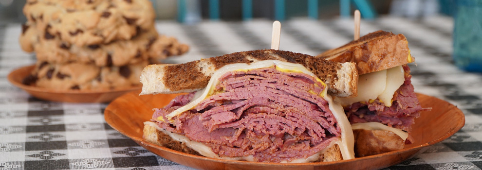Pastrami sandwich and chocolate chip cookies at Not Your Typical Deli in Gilbert, Arizona