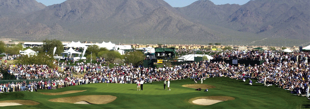 A wide shot of the 2018 Waste Management Open in Scottsdale