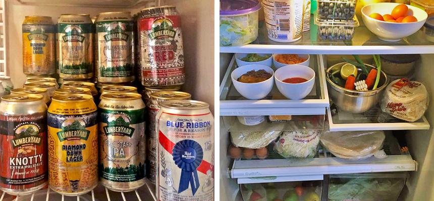 Chef Hendricks' and Chef Saucedo's fridge contents