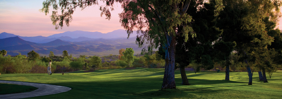 A golfer on the green at Rancho De Los Caballeros in Wickenburg, Arizona