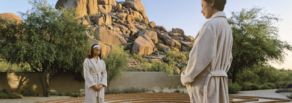 Two women walk the Labyrinth at The Boulders Resort in Scottsdale, Arizona