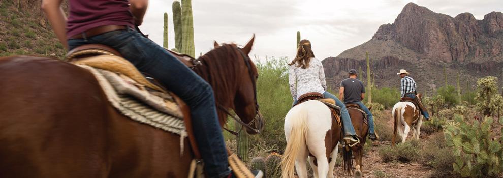 Riders along the trail at White Stallion Ranch near Tucson, Arizona