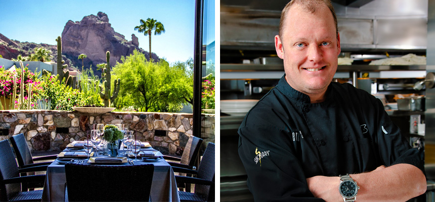 View of the Elements dining room, with the mountains in the background, and Chef Beau Macmillan
