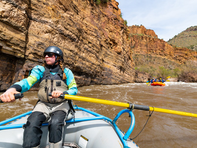 River guide Lauren McCullough steers her raft through the Salt River