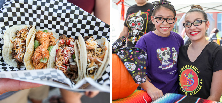 Two photos - left: four different tacos on a plate, right: a woman and little girl smile while seated at an arts and crafts booth