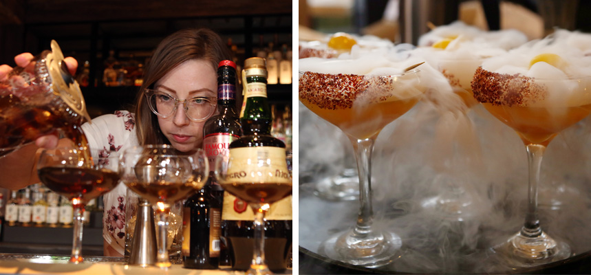 Two photos - left: a bartender carefully pours a custom cocktail, right: four frothy, steaming cocktails sit on a serving tray