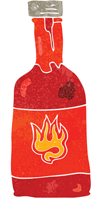 illustration of a hot sauce bottle in reds and oranges with a flame symbol