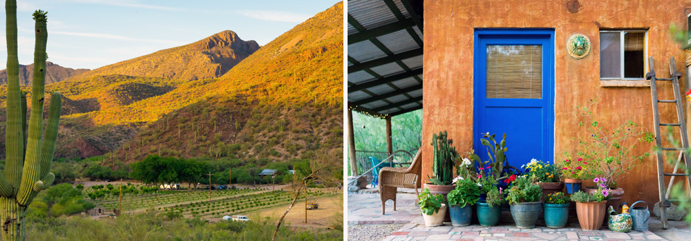 An overhead shot of the orchard inn among the mountains of the canyon, and the outside of the Blue Door casita