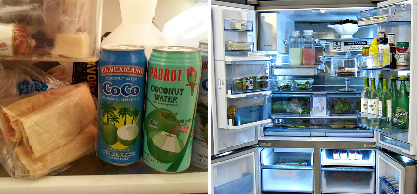 Christopher Smith's and Mercer Mohr's fridges, side-by-side