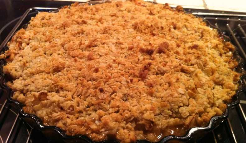 recept äppelpaj med havregryn