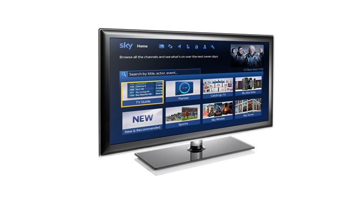 TV displaying recordings and planner on Sky