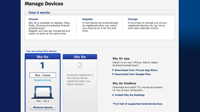 Register Sky Go devices