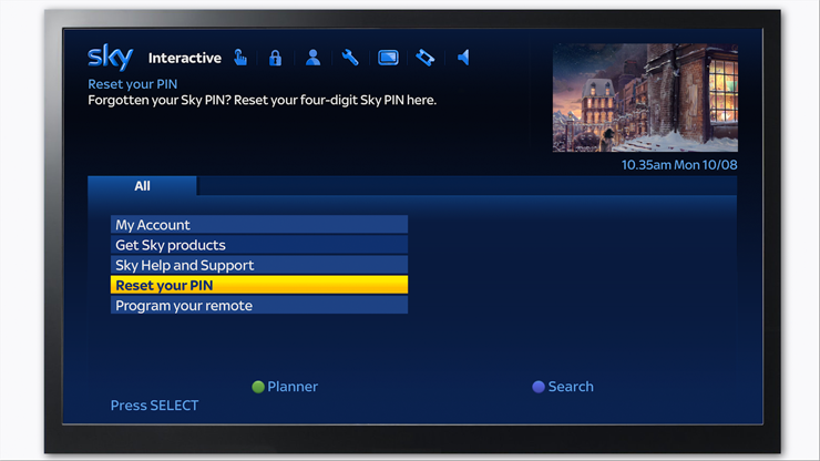 Reset your Sky TV PIN interactive TV menu
