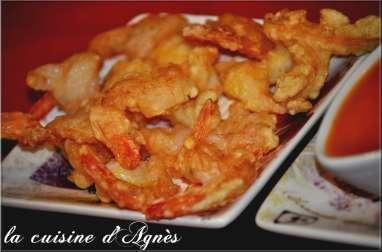 Crevettes frites sauce aigre douce