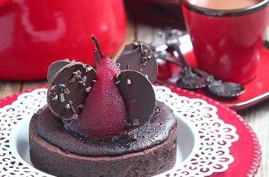 Délices d'Orient: Tarte amandine chocolat et poires pochées à la framboise