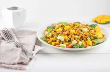 Salade de pois chiches rôtis avocats et mangue