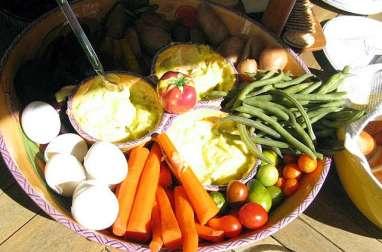 Grand aïlloli provençal à la morue (cabillaud) et légumes nouveaux, sauces