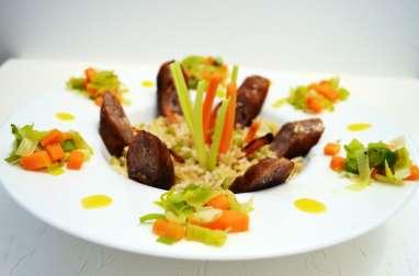 Saucisses de veau, lentilles et légumes