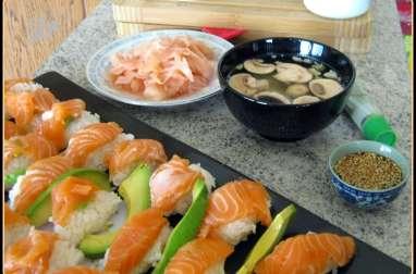 sushis maison au saumon et avocat