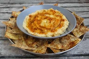 Houmous et chips au sésame