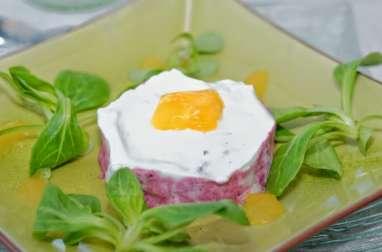 Bavarois de betterave, crème de chèvre et gelée d'orange
