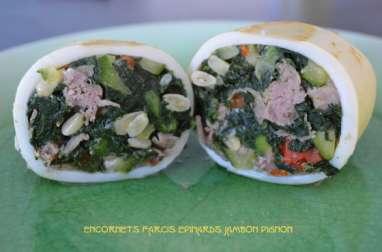 Encornets farcis épinards jambon pignon