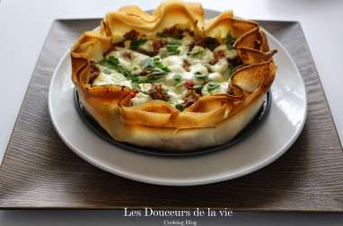 Tarte craquante Poivrons-Thon et Mozzarella