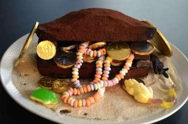 Gâteau coffre au trésor tout chocolat