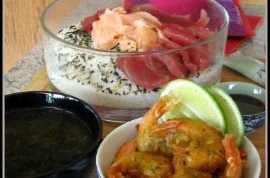 Chirashi de thon et tenpura de crevettes