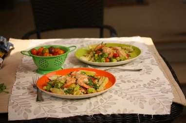 Salade aux artichauts, pommes de terre nouvelles, crevettes, batavia