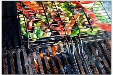 Poivrons, aubergines, courgettes marinés, grillés au barbecue, à la plancha