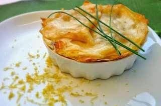 Lasagnes aux deux saumons frais et fumé, à la crème d'estragon