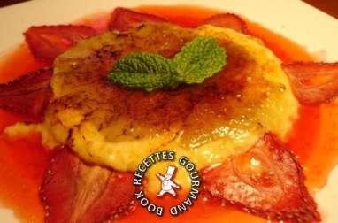 Crème brûlée rhubarbe au jus de fraises