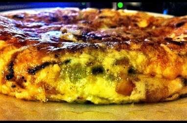 Tarte minute à la mortadelle, aux tomates, fromage et olives