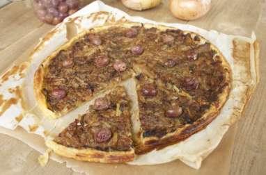 Pissaladière d'aubergines et d'oignons doux
