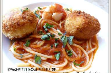 Spaghetti et boulettes de crevettes au citron