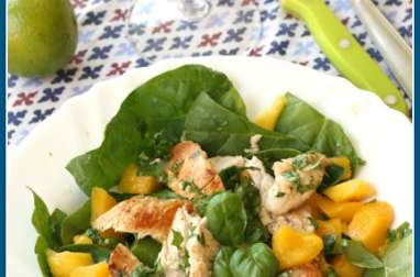 Salade poulet, mangue, épinards