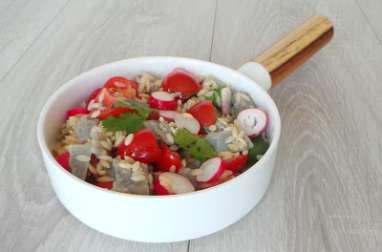 Salade de fonds d'artichauts, tomates et radis à la coriandre