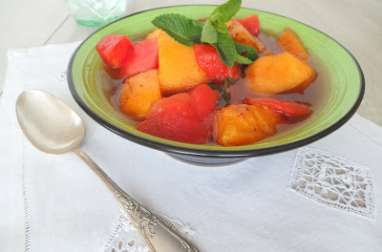 Salade tiède de melon et pastèque, 4 épices et miel cuite en papillote
