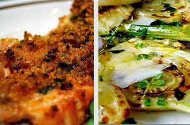 Saumon aux herbes, cuit au barbecue, à la planche de cèdre (Italie)