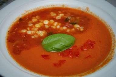 gaspacho à la tomate et au maïs - vegan - (Mexique)